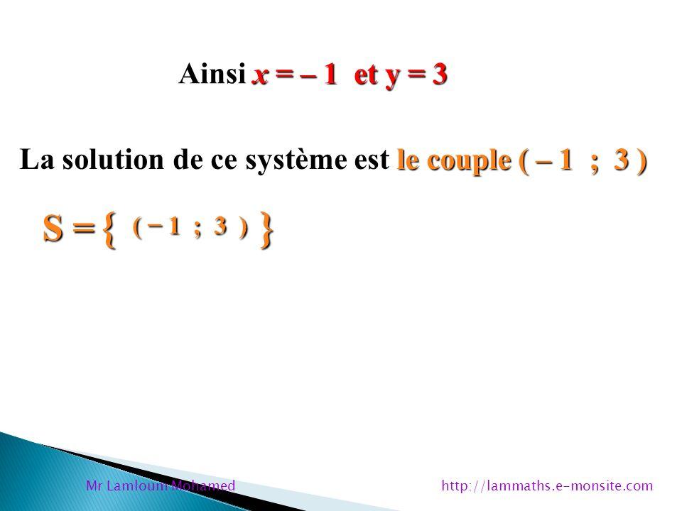 x = – 1 et y = 3 Ainsi x = – 1 et y = 3 le couple ( – 1 ; 3 ) La solution de ce système est le couple ( – 1 ; 3 ) S = { ( 1 ; 3 ) } Mr Lamloum Mohamed