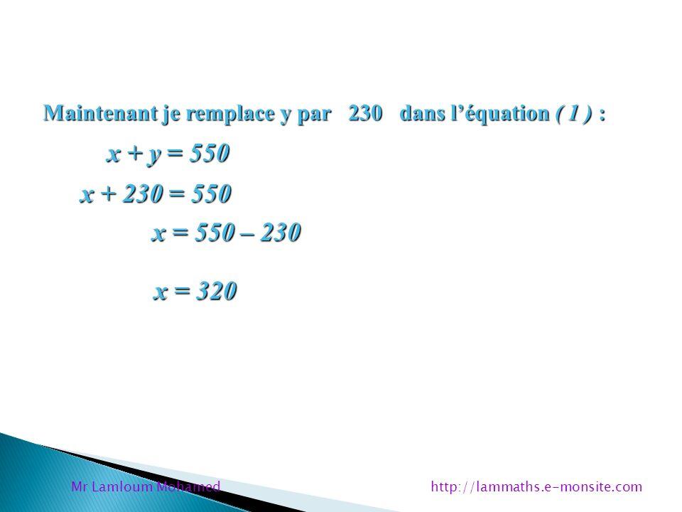 Maintenant je remplace y par 230 dans léquation ( 1 ) : x + y = 550 x + y = 550 x + 230 = 550 x + 230 = 550 x = 550 – 230 x = 550 – 230 x = 320 x = 32