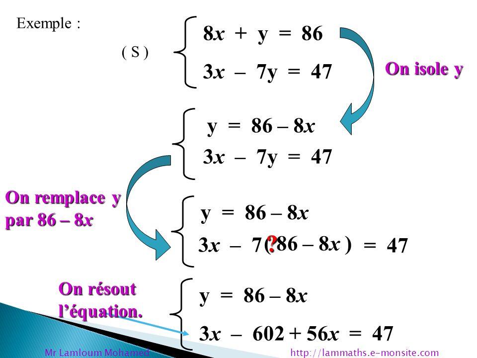 y = 86 – 8x 3x – 602 + 56x = 47 y = 86 – 8x 59x = 47 + 602 y = 86 – 8x 59x = 649 y = 86 – 8x x = 649 59 Mr Lamloum Mohamed http://lammaths.e- monsite.com