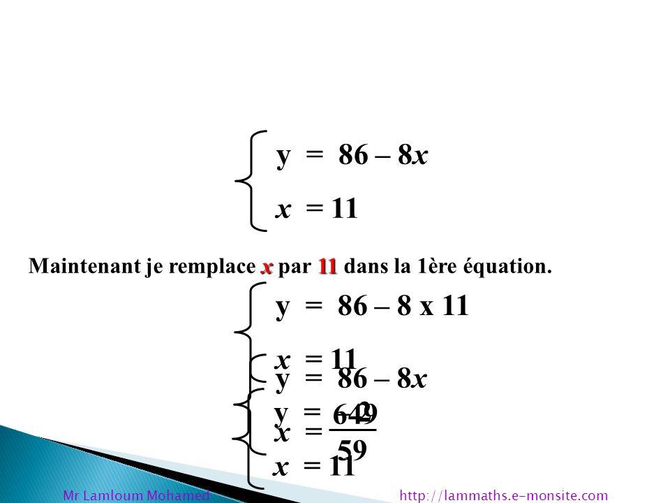 y = 86 – 8x x = 649 59 y = 86 – 8x x = 11 x11 Maintenant je remplace x par 11 dans la 1ère équation. y = 86 – 8 x 11 x = 11 y = – 2 x = 11 Mr Lamloum