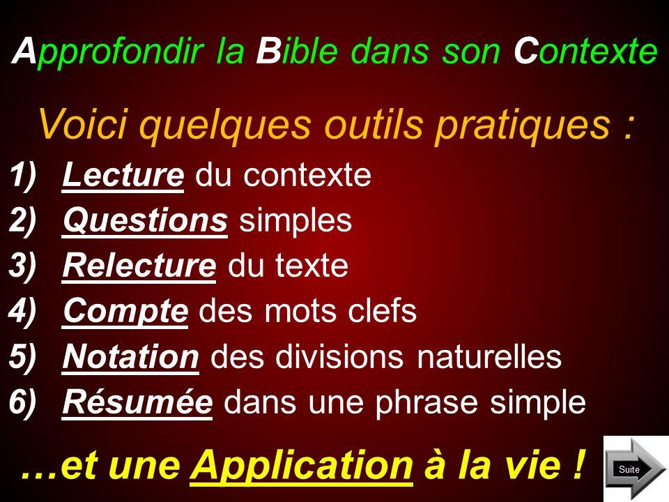Approfondir la Bible dans son Contexte …et une Application à la vie ! Voici quelques outils pratiques : 1)Lecture du contexte 2)Questions simples 3)Re