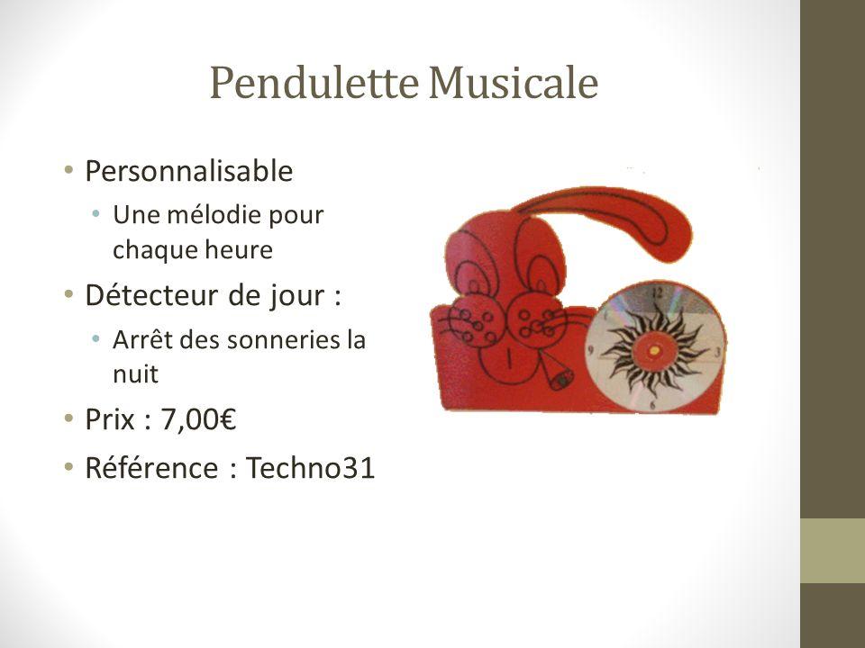 Pendulette Musicale Personnalisable Une mélodie pour chaque heure Détecteur de jour : Arrêt des sonneries la nuit Prix : 7,00 Référence : Techno31