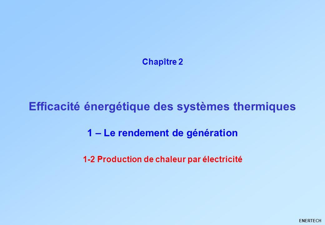 Larchitecture climatique Thermique du bâtiment ENERTECH 1-2 Production de chaleur par électricité Efficacité énergétique des systèmes thermiques Chapî