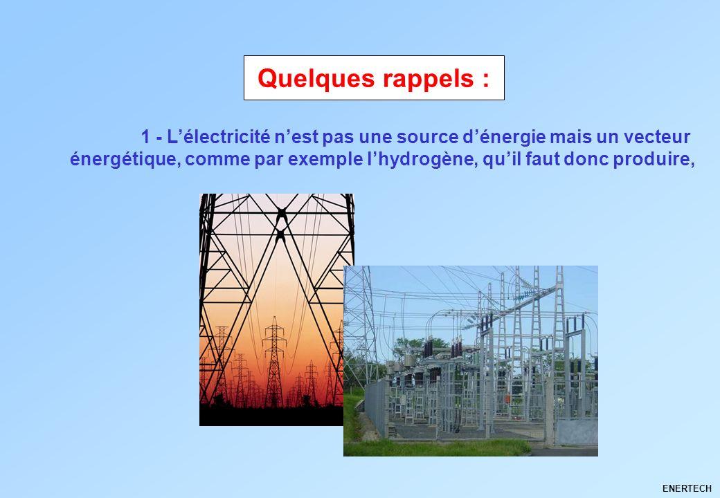 ENERTECH 1 - Lélectricité nest pas une source dénergie mais un vecteur énergétique, comme par exemple lhydrogène, quil faut donc produire, Quelques ra