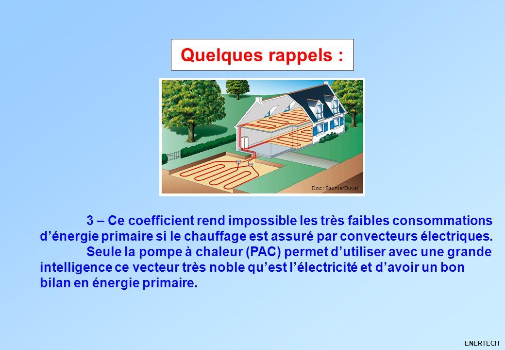 ENERTECH 3 – Ce coefficient rend impossible les très faibles consommations dénergie primaire si le chauffage est assuré par convecteurs électriques. S