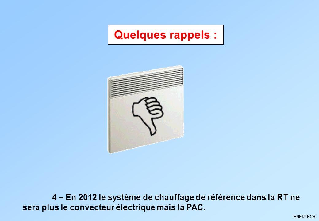 ENERTECH 4 – En 2012 le système de chauffage de référence dans la RT ne sera plus le convecteur électrique mais la PAC. Quelques rappels :