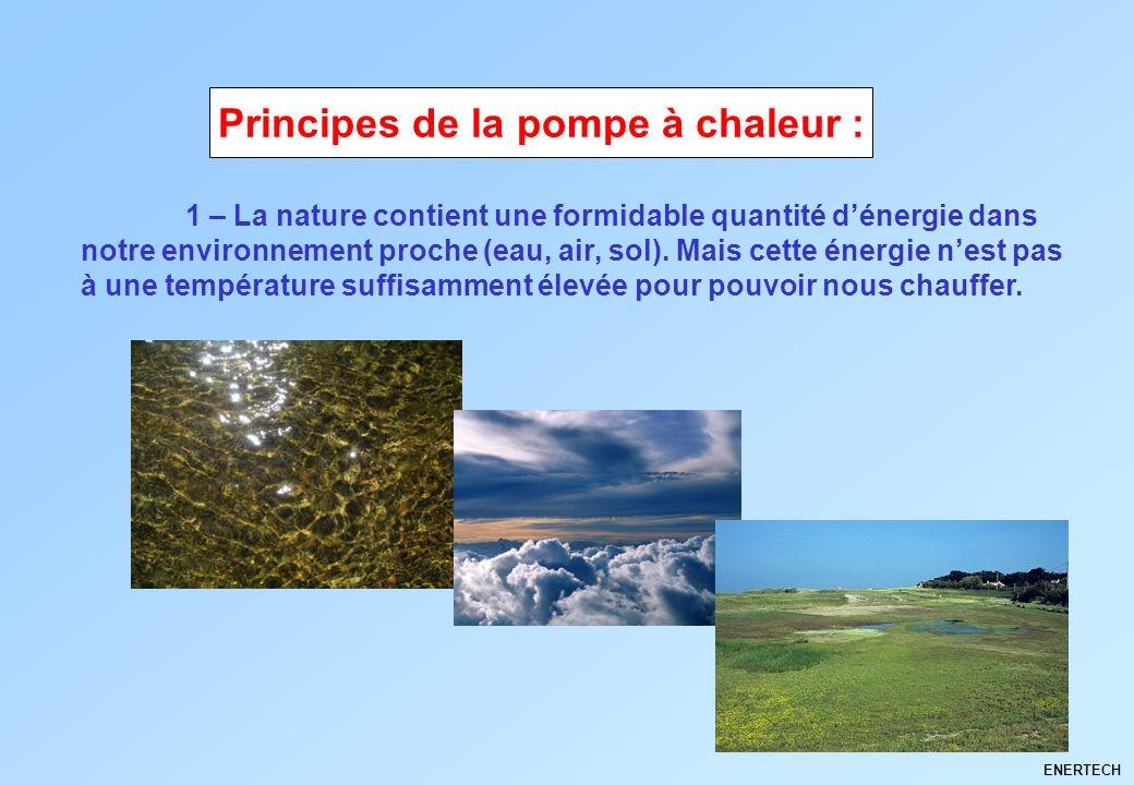 ENERTECH 1 – La nature contient une formidable quantité dénergie dans notre environnement proche (eau, air, sol). Mais cette énergie nest pas à une te