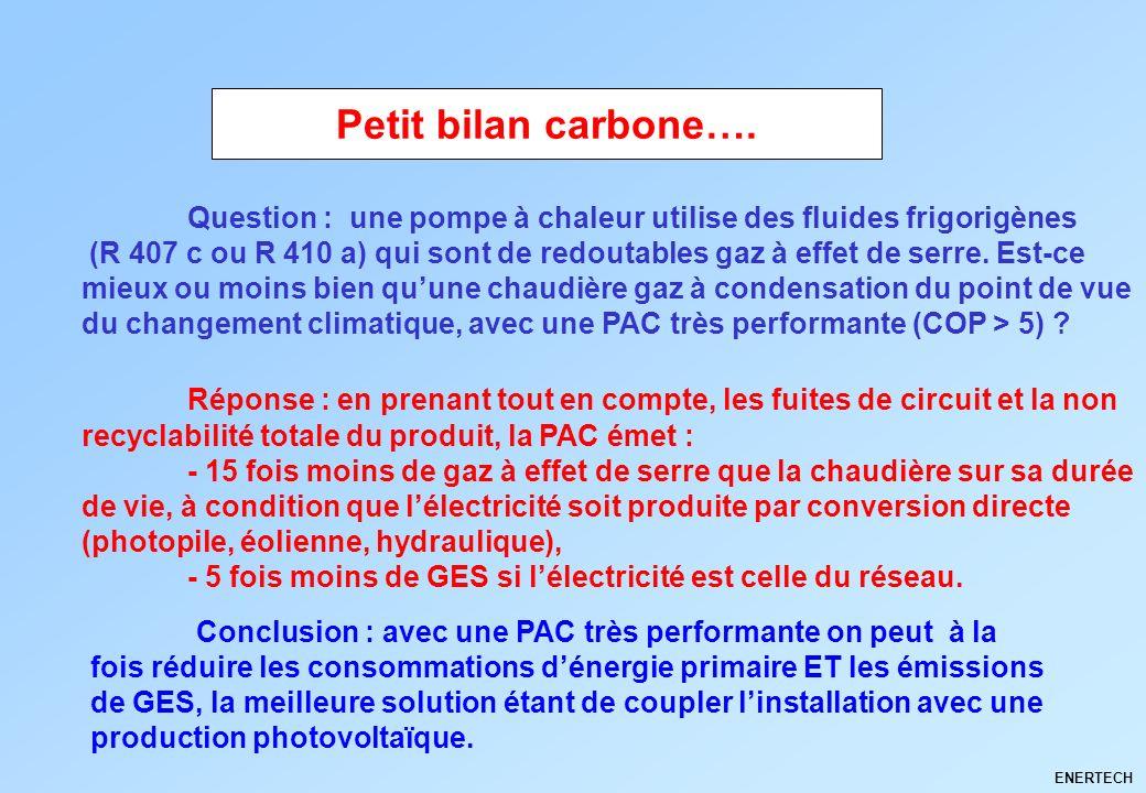 ENERTECH Conclusion : avec une PAC très performante on peut à la fois réduire les consommations dénergie primaire ET les émissions de GES, la meilleur