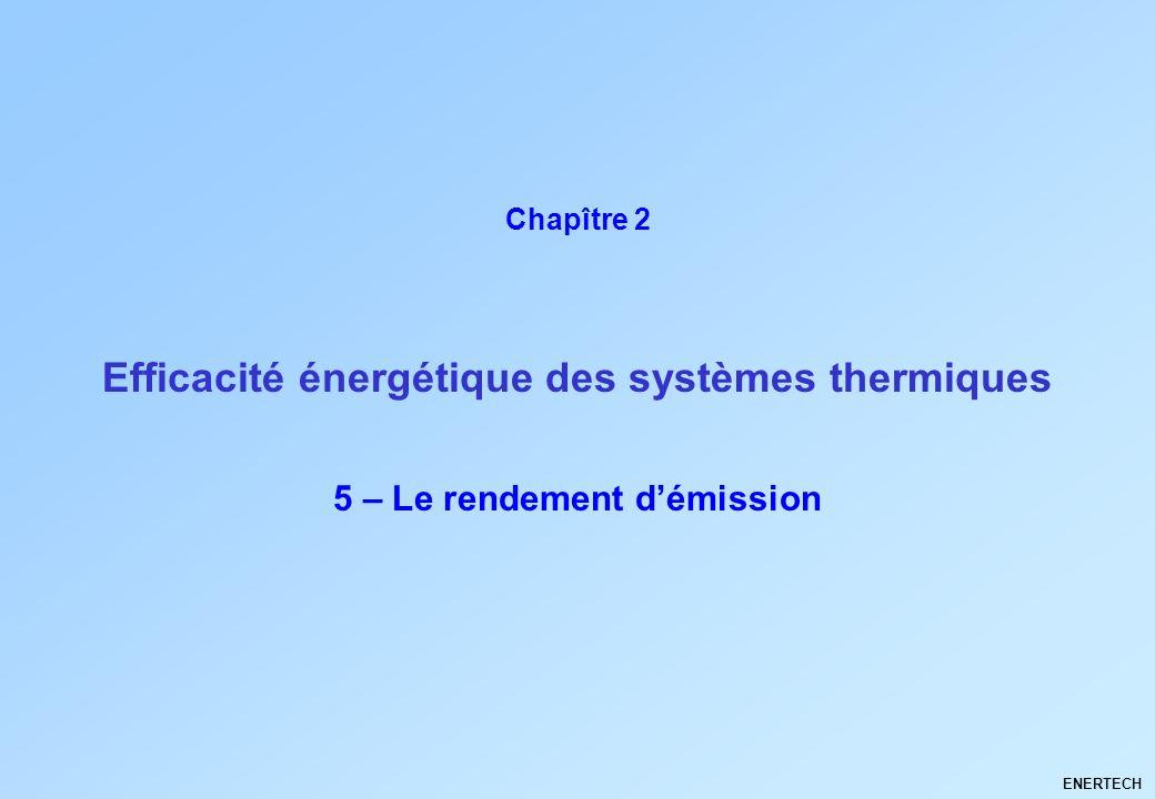 Larchitecture climatique Thermique du bâtiment ENERTECH 5 – Le rendement démission ENERTECH Efficacité énergétique des systèmes thermiques Chapître 2