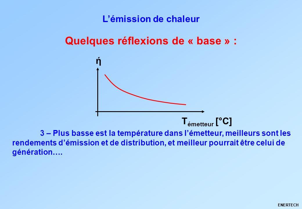 ENERTECH Quelques réflexions de « base » : Lémission de chaleur 3 – Plus basse est la température dans lémetteur, meilleurs sont les rendements démiss