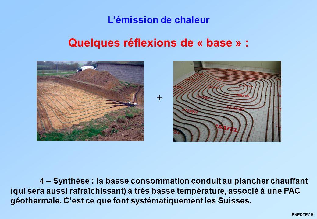 ENERTECH Quelques réflexions de « base » : Lémission de chaleur 4 – Synthèse : la basse consommation conduit au plancher chauffant (qui sera aussi raf