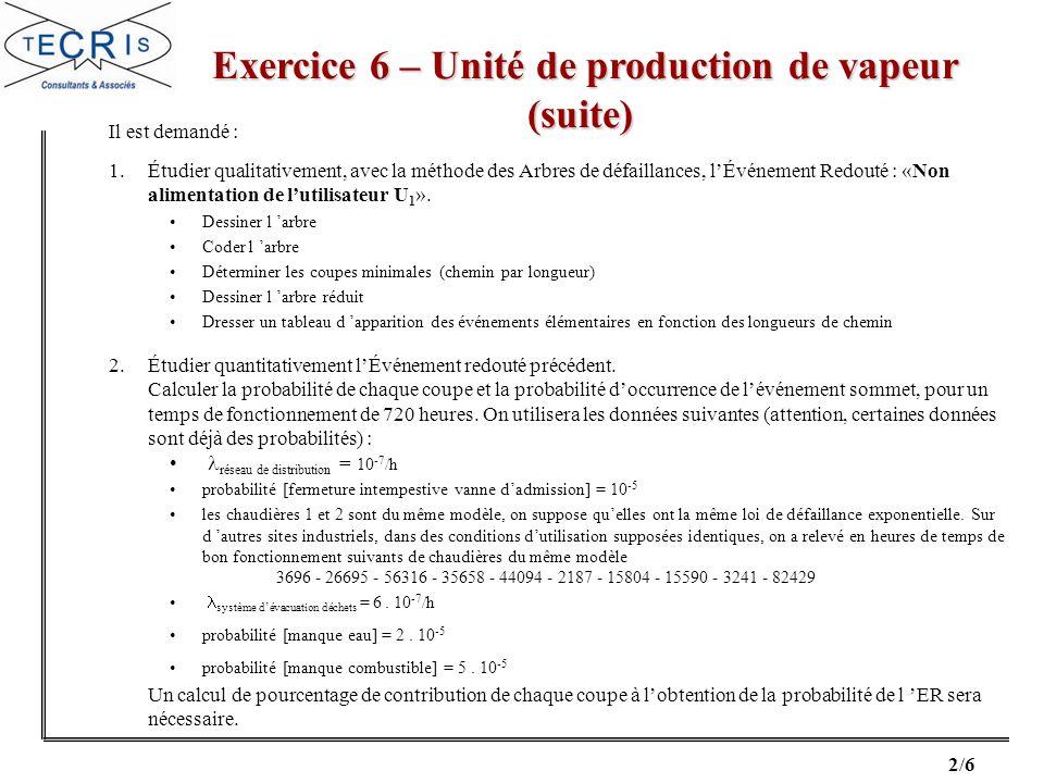 3/6 Exercice 6 – Unité de production de vapeur (fin) Exercice 6 – Unité de production de vapeur (fin) 3.