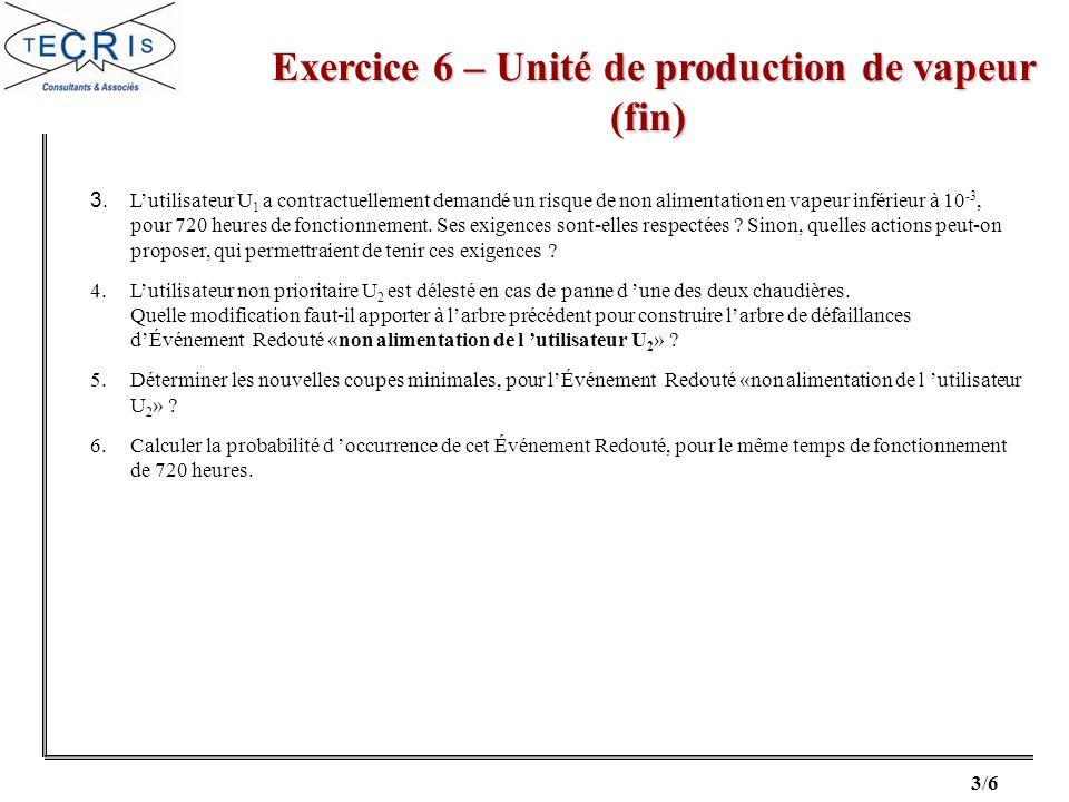 3/6 Exercice 6 – Unité de production de vapeur (fin) Exercice 6 – Unité de production de vapeur (fin) 3. Lutilisateur U 1 a contractuellement demandé