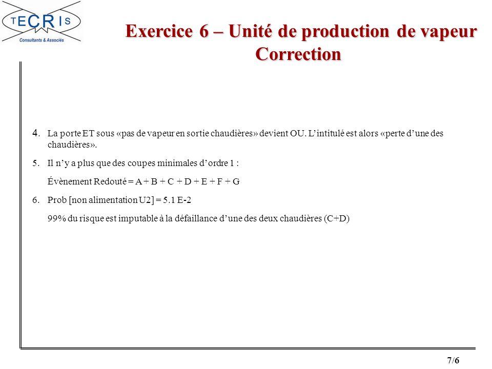 7/6 Exercice 6 – Unité de production de vapeur Correction Exercice 6 – Unité de production de vapeur Correction 4. La porte ET sous «pas de vapeur en