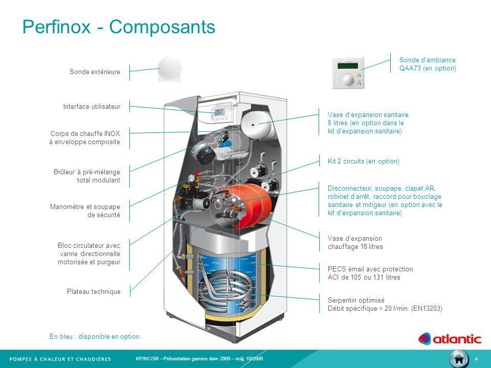 KP/NC/SR – Présentation gamme dom 2009 – màj. 10/2009 4 Perfinox - Composants Corps de chauffe INOX à enveloppe composite Brûleur à pré-mélange total