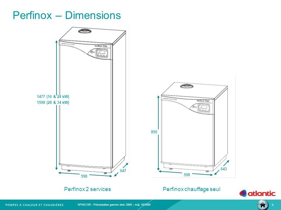 KP/NC/SR – Présentation gamme dom 2009 – màj. 10/2009 5 Perfinox – Dimensions Perfinox 2 services 850 598 643 1477 (16 & 24 kW) 1598 (28 & 34 kW) 598