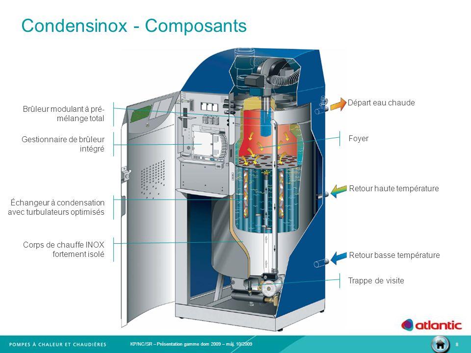 KP/NC/SR – Présentation gamme dom 2009 – màj. 10/2009 8 Condensinox - Composants Foyer Gestionnaire de brûleur intégré Corps de chauffe INOX fortement