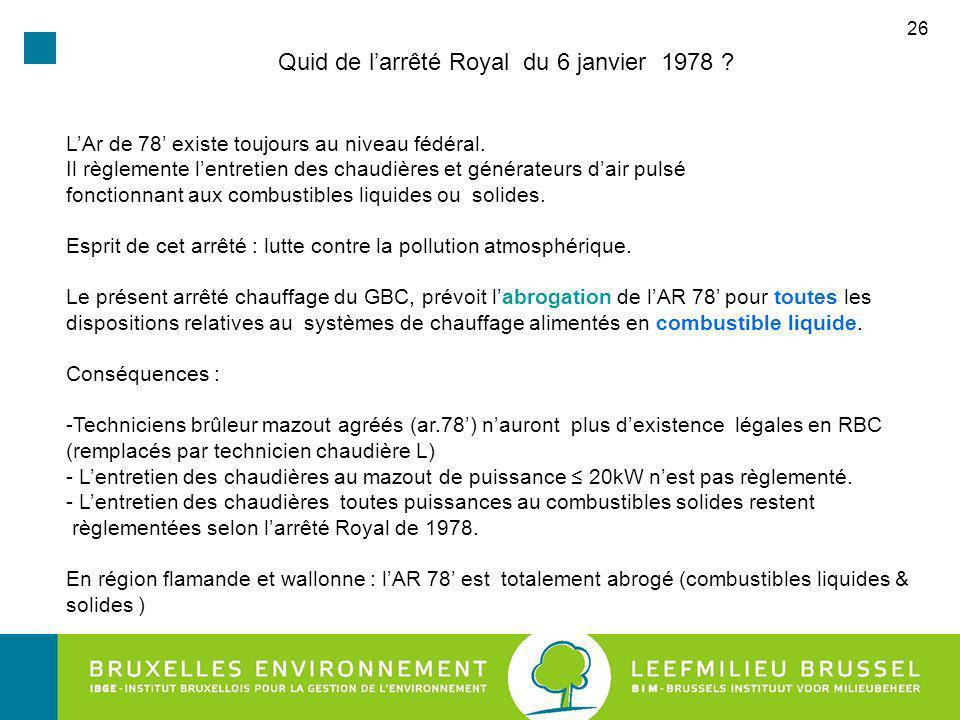 26 Quid de larrêté Royal du 6 janvier 1978 .LAr de 78 existe toujours au niveau fédéral.
