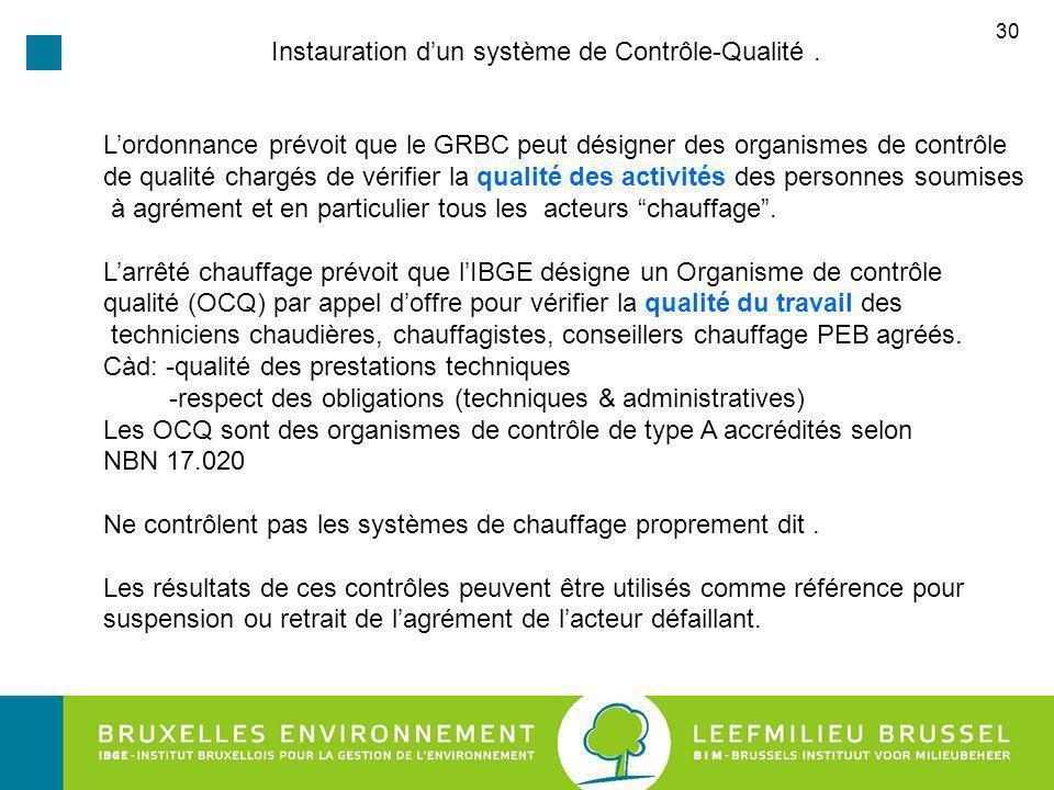 30 Instauration dun système de Contrôle-Qualité.