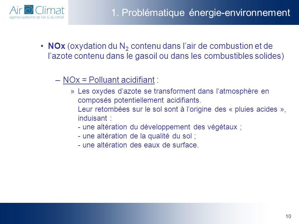 10 1. Problématique énergie-environnement NOx (oxydation du N 2 contenu dans lair de combustion et de lazote contenu dans le gasoil ou dans les combus