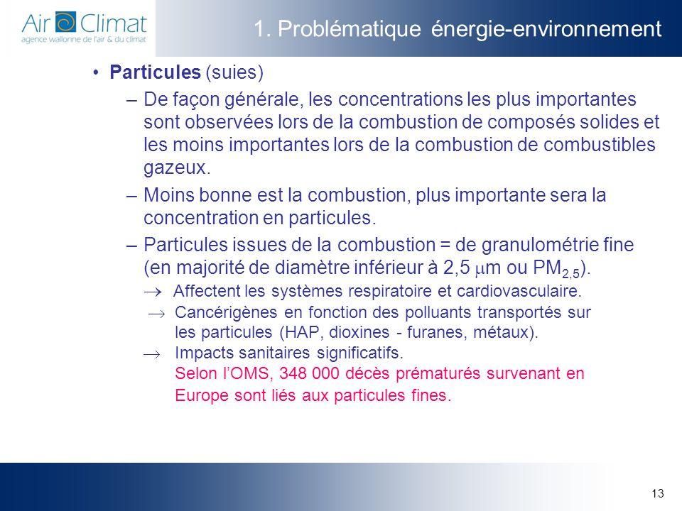 13 1. Problématique énergie-environnement Particules (suies) –De façon générale, les concentrations les plus importantes sont observées lors de la com