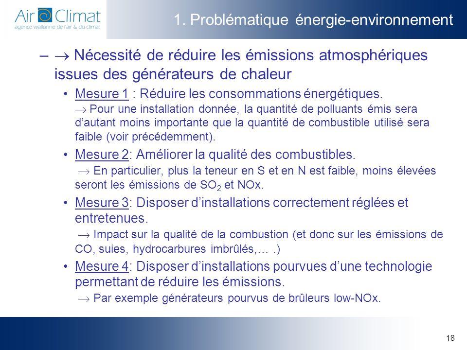 18 1. Problématique énergie-environnement – Nécessité de réduire les émissions atmosphériques issues des générateurs de chaleur Mesure 1 : Réduire les