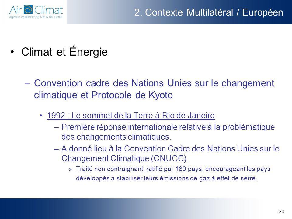 20 2. Contexte Multilatéral / Européen Climat et Énergie –Convention cadre des Nations Unies sur le changement climatique et Protocole de Kyoto 1992 :