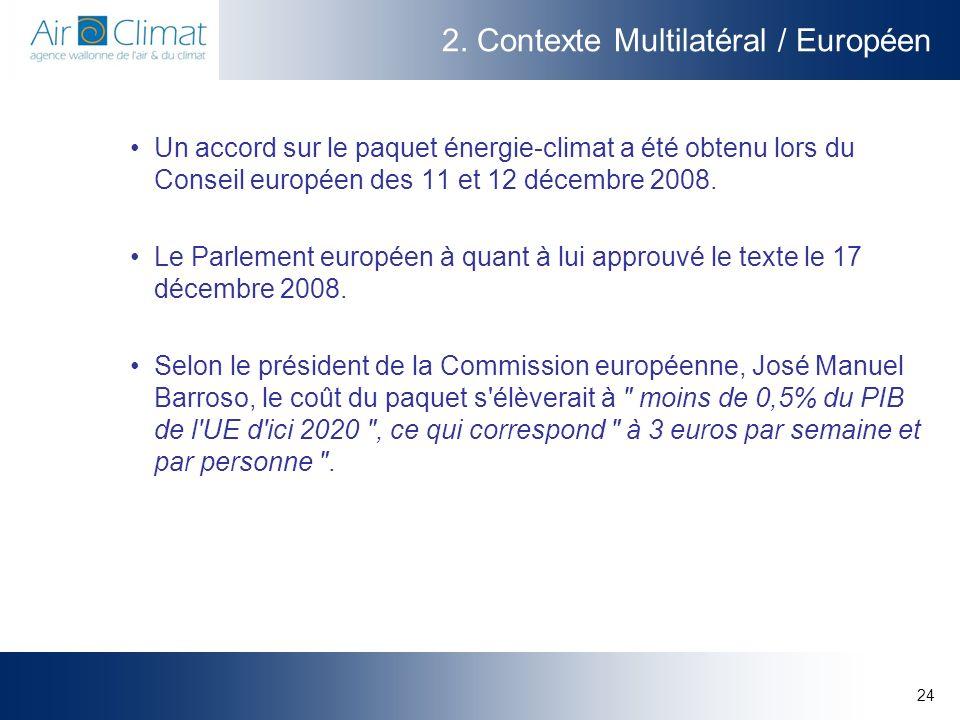 24 2. Contexte Multilatéral / Européen Un accord sur le paquet énergie-climat a été obtenu lors du Conseil européen des 11 et 12 décembre 2008. Le Par