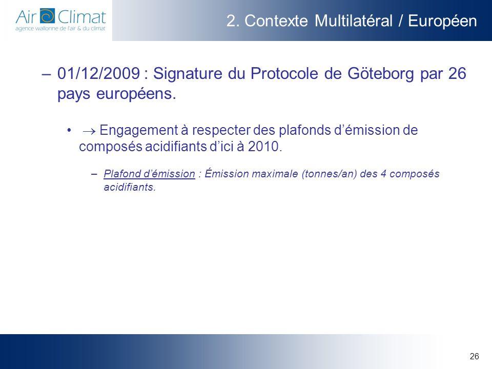 26 2. Contexte Multilatéral / Européen –01/12/2009 : Signature du Protocole de Göteborg par 26 pays européens. Engagement à respecter des plafonds dém
