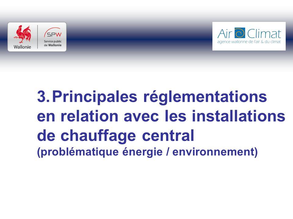 3.Principales réglementations en relation avec les installations de chauffage central (problématique énergie / environnement)