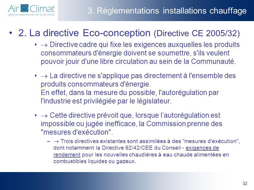 32 3. Réglementations installations chauffage 2. La directive Eco-conception (Directive CE 2005/32) Directive cadre qui fixe les exigences auxquelles