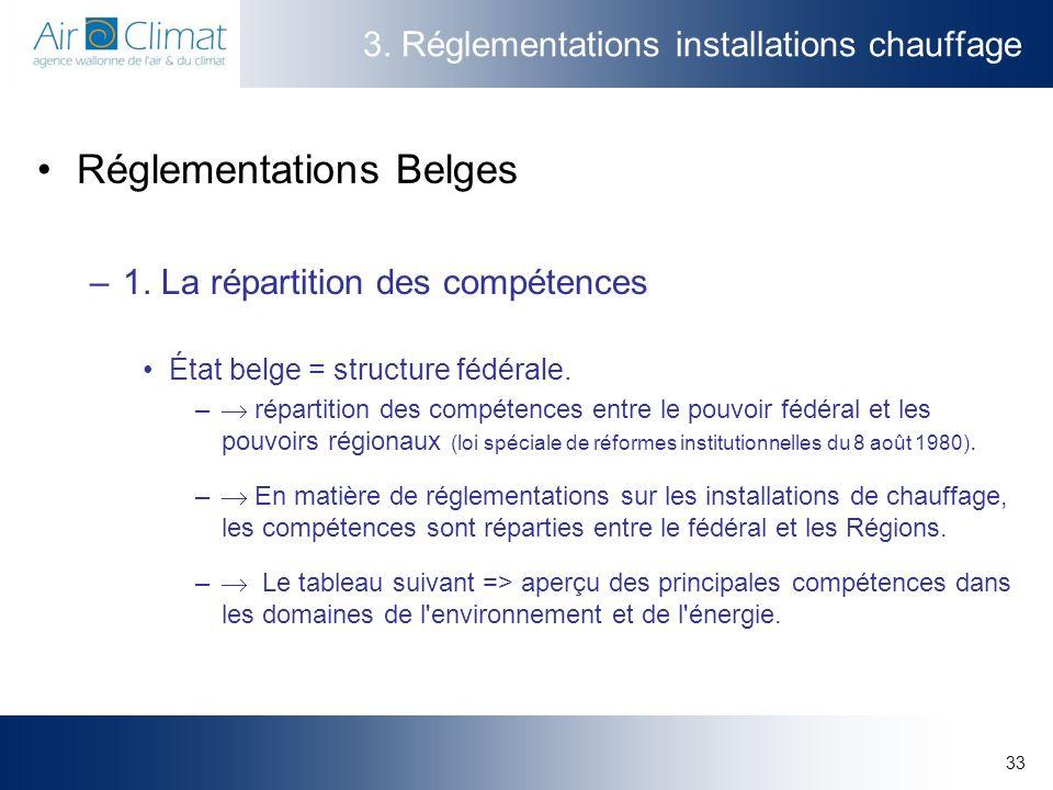33 3. Réglementations installations chauffage Réglementations Belges –1. La répartition des compétences État belge = structure fédérale. – répartition