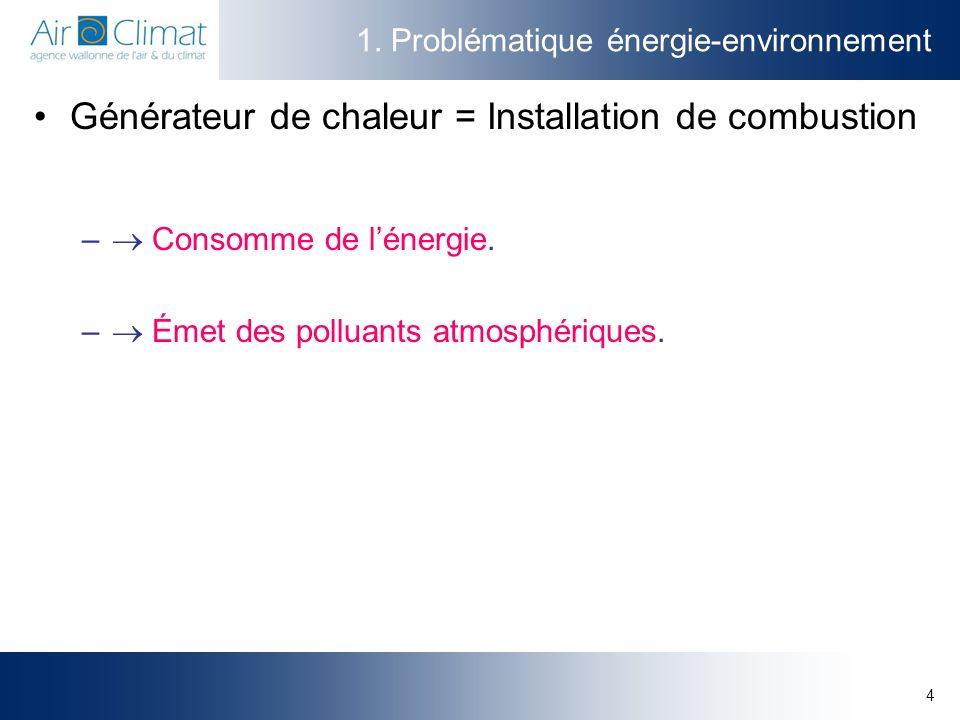 4 1. Problématique énergie-environnement Générateur de chaleur = Installation de combustion – Consomme de lénergie. – Émet des polluants atmosphérique