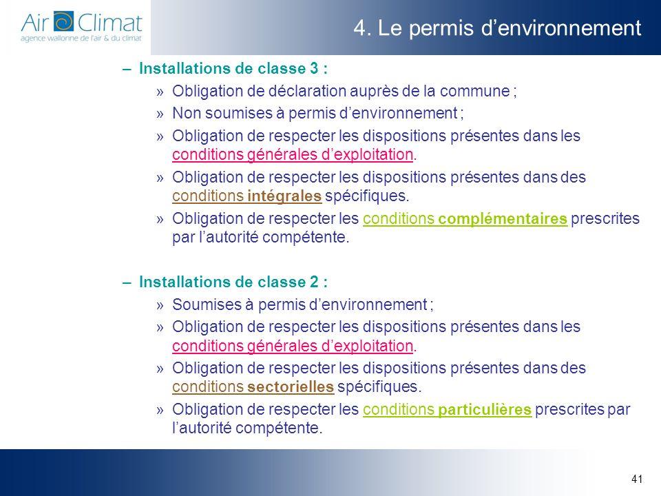 41 4. Le permis denvironnement –Installations de classe 3 : »Obligation de déclaration auprès de la commune ; »Non soumises à permis denvironnement ;