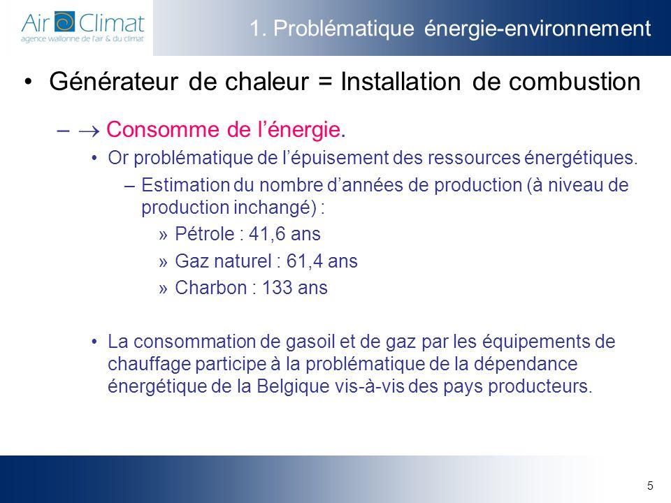 5 1. Problématique énergie-environnement Générateur de chaleur = Installation de combustion – Consomme de lénergie. Or problématique de lépuisement de