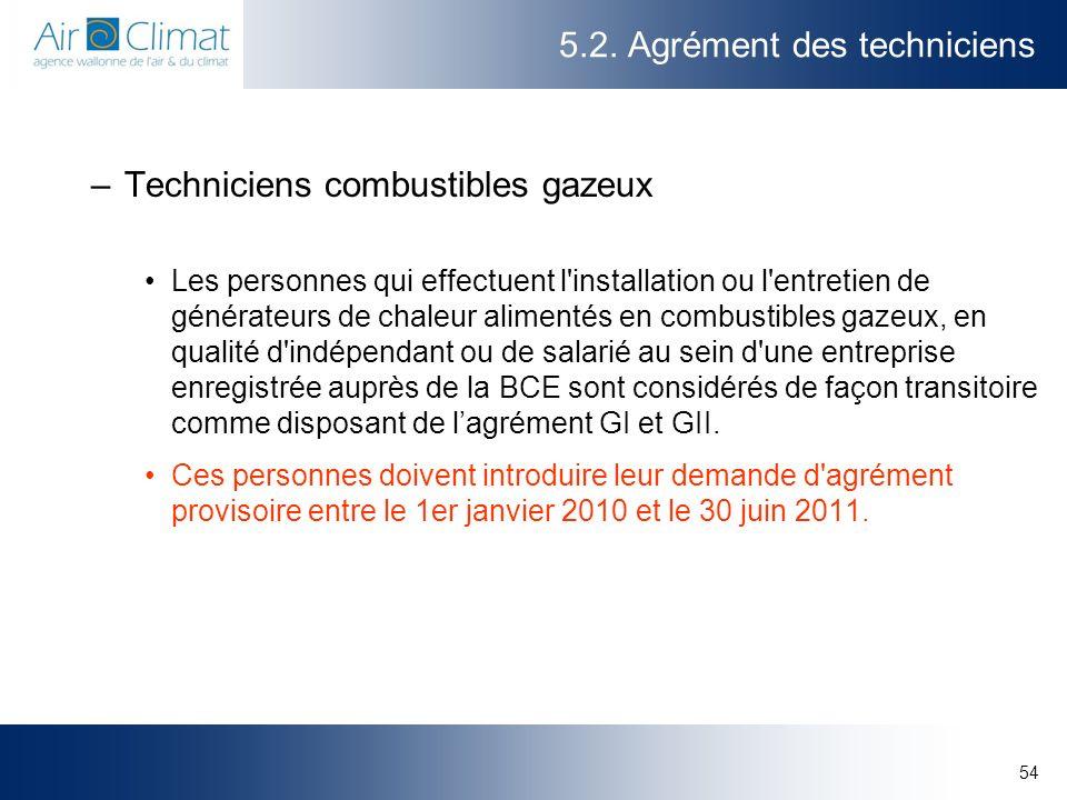 54 5.2. Agrément des techniciens –Techniciens combustibles gazeux Les personnes qui effectuent l'installation ou l'entretien de générateurs de chaleur