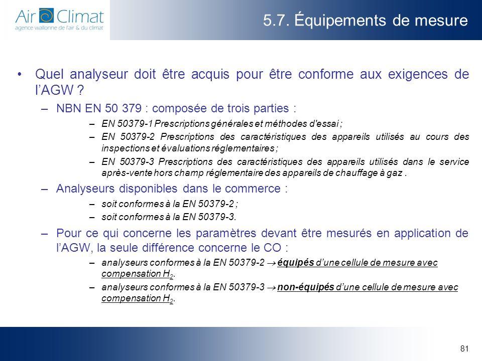 81 5.7. Équipements de mesure Quel analyseur doit être acquis pour être conforme aux exigences de lAGW ? –NBN EN 50 379 : composée de trois parties :