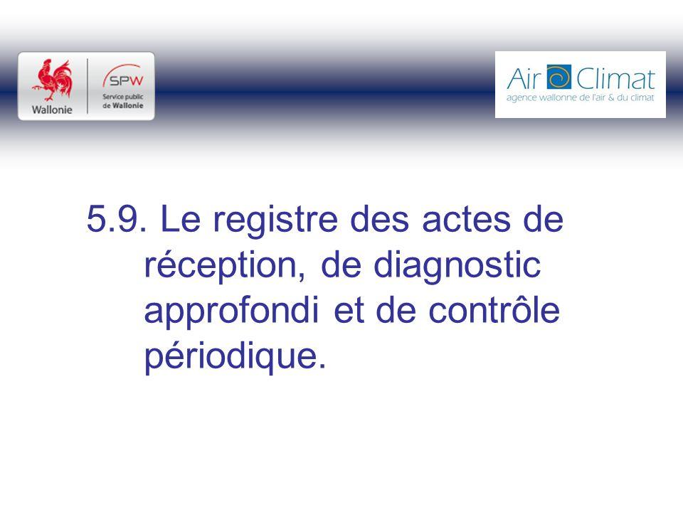 5.9. Le registre des actes de réception, de diagnostic approfondi et de contrôle périodique.