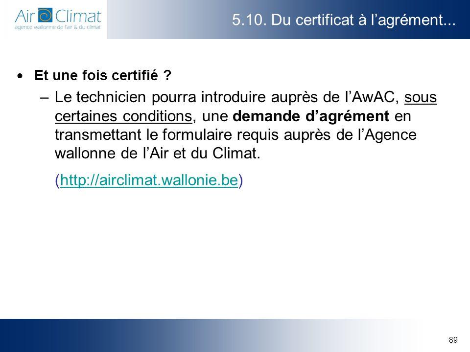 89 5.10. Du certificat à lagrément... Et une fois certifié ? –Le technicien pourra introduire auprès de lAwAC, sous certaines conditions, une demande