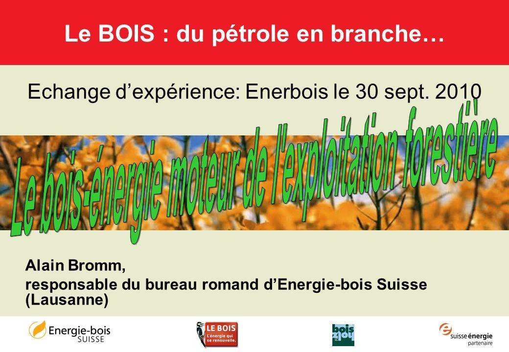 Alain Bromm, responsable du bureau romand dEnergie-bois Suisse (Lausanne) Le BOIS : du pétrole en branche… Echange dexpérience: Enerbois le 30 sept. 2