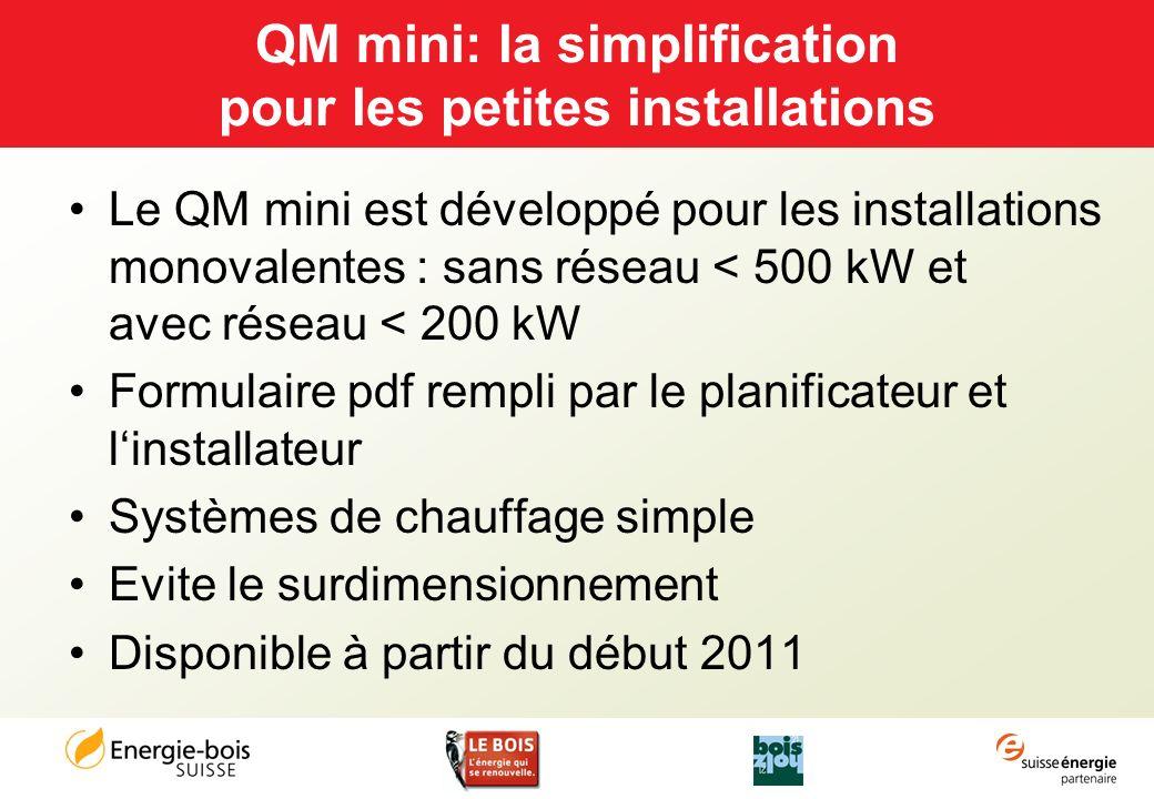 QM mini: la simplification pour les petites installations Le QM mini est développé pour les installations monovalentes : sans réseau < 500 kW et avec