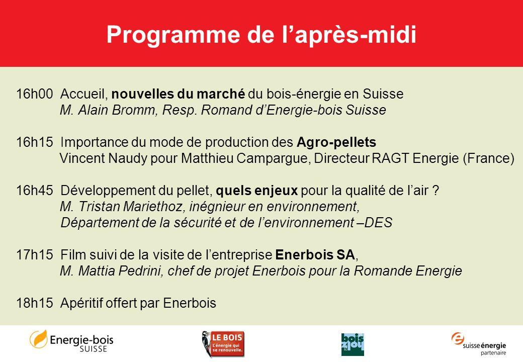 Programme de laprès-midi 16h00 Accueil, nouvelles du marché du bois-énergie en Suisse M. Alain Bromm, Resp. Romand dEnergie-bois Suisse 16h15 Importan