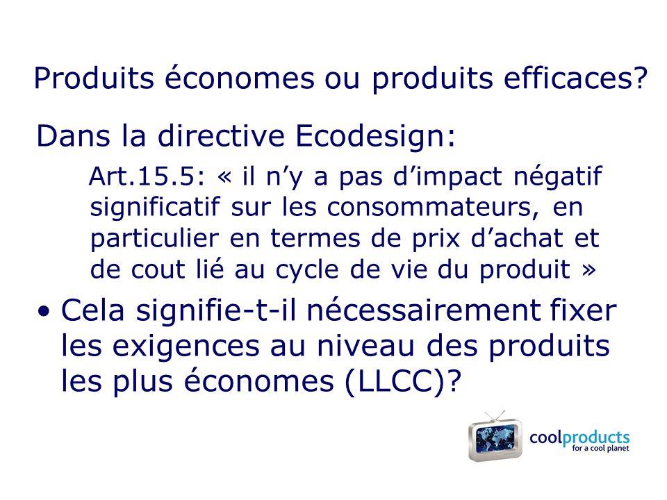 Dans la directive Ecodesign: Art.15.5: « il ny a pas dimpact négatif significatif sur les consommateurs, en particulier en termes de prix dachat et de cout lié au cycle de vie du produit » Cela signifie-t-il nécessairement fixer les exigences au niveau des produits les plus économes (LLCC).