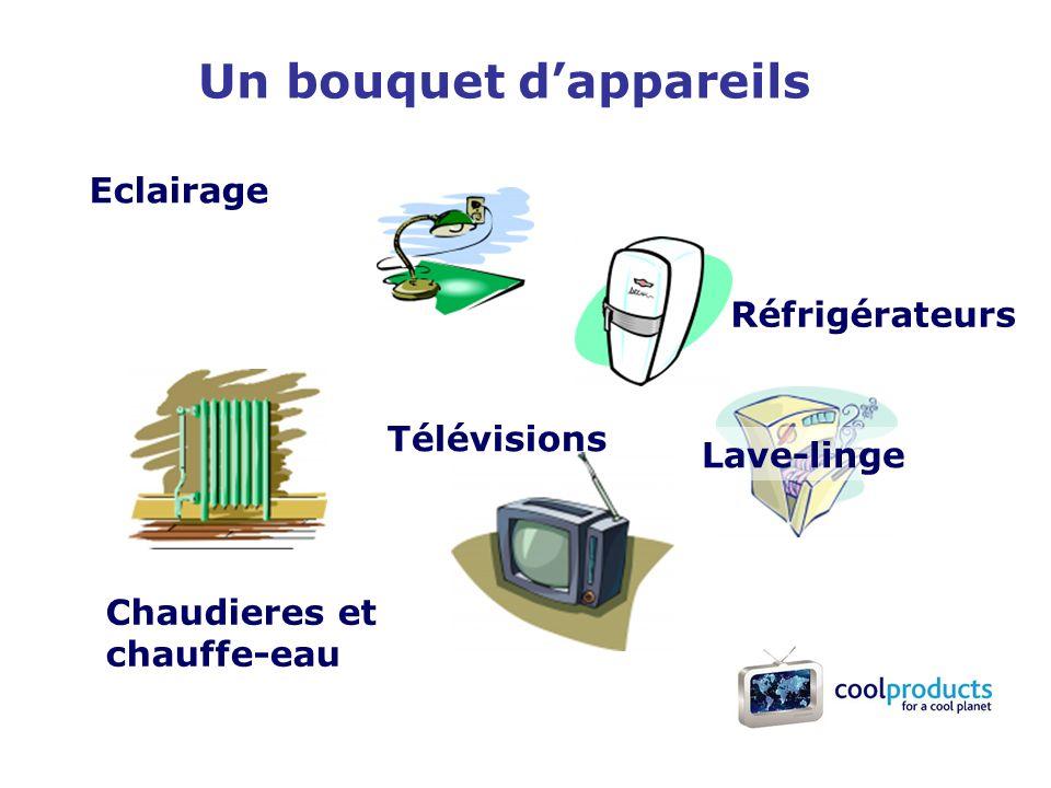 Un bouquet dappareils Eclairage Chaudieres et chauffe-eau Télévisions Réfrigérateurs Lave-linge