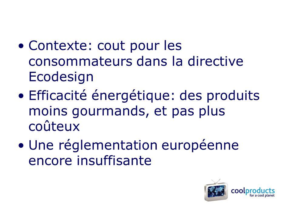 Contexte: cout pour les consommateurs dans la directive Ecodesign Efficacité énergétique: des produits moins gourmands, et pas plus coûteux Une réglementation européenne encore insuffisante