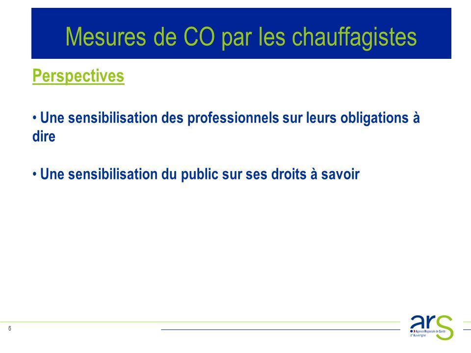 6 Perspectives Une sensibilisation des professionnels sur leurs obligations à dire Une sensibilisation du public sur ses droits à savoir Mesures de CO