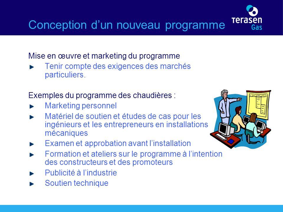 Conception dun nouveau programme Mise en œuvre et marketing du programme Tenir compte des exigences des marchés particuliers.