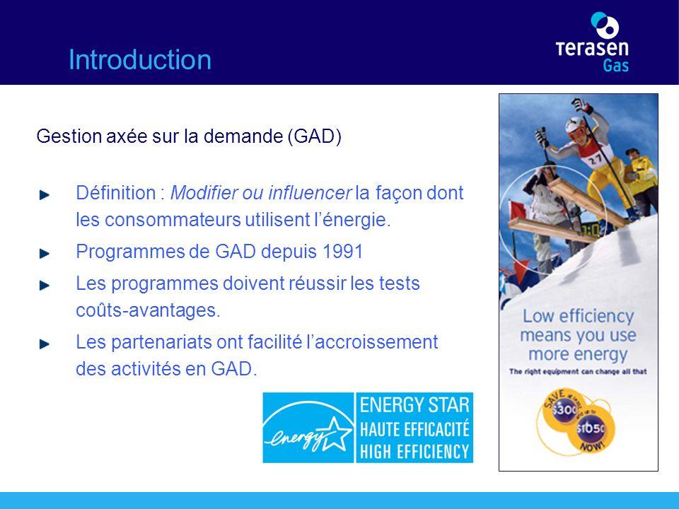 Introduction Gestion axée sur la demande (GAD) Définition : Modifier ou influencer la façon dont les consommateurs utilisent lénergie.