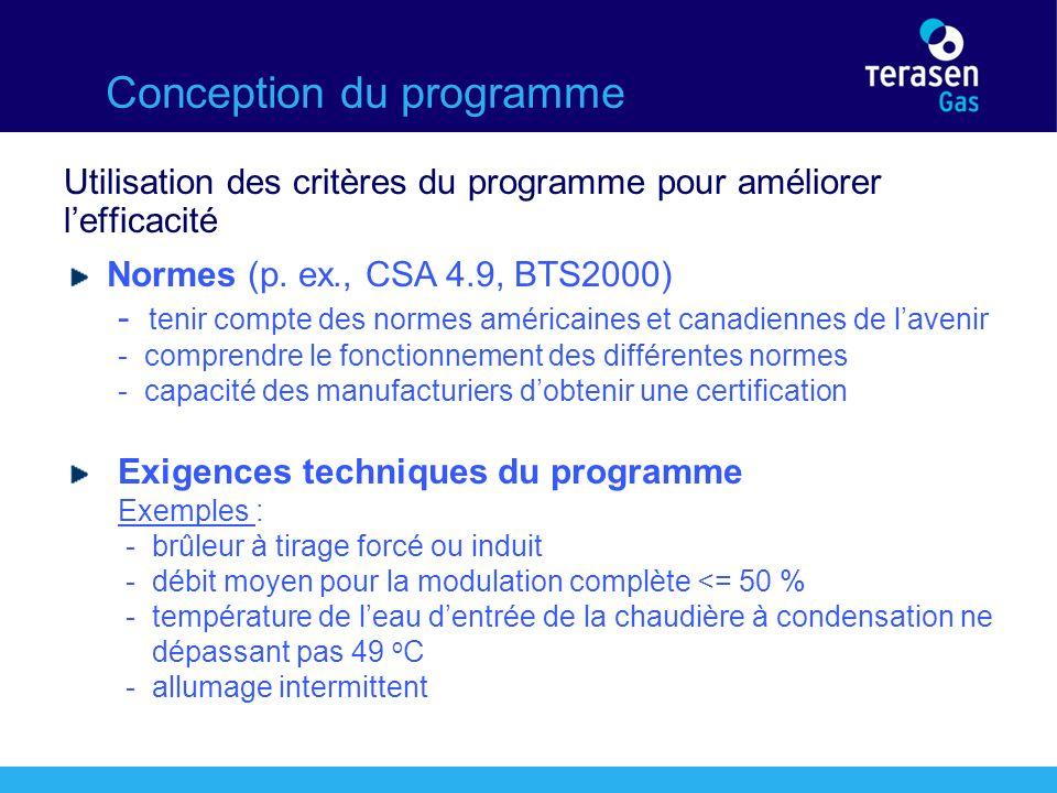 Conception du programme Utilisation des critères du programme pour améliorer lefficacité Normes (p.