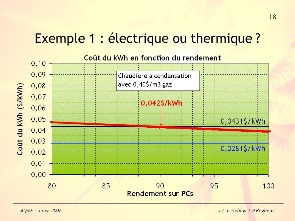 Exemple 1 : électrique ou thermique ? 18 AQME – 3 mai 2007 J-F Tremblay / P.Reghem